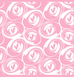 Pink heart and round brush background vector