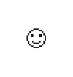 pixel happy emotion face vector image