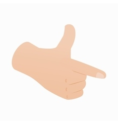 Pointing hand or pistol hand gesture icon vector image