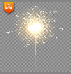 Realistic christmas sparkler on transparent vector
