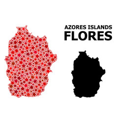 Red star pattern map azores - flores island vector