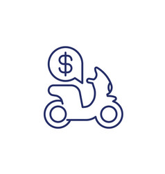 rent scooter line icon on white vector image