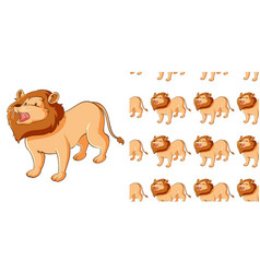 Seamless background design with cute lion vector