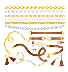 set chains and belts vector image