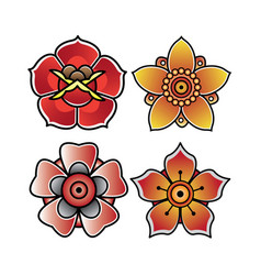 set flower tattoo old school vector image