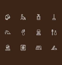 set of 12 editable cleaning outline icons vector image