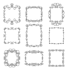 Set of decorative frames in linear style vector image vector image