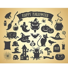 Set of Halloween elements vector