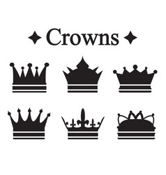 Set of silhouettes king crown or pope tiara vector