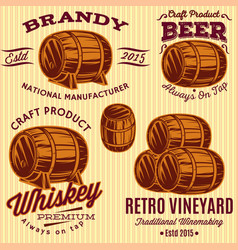 set of templates with colored barrels for vector image