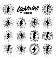 Set vintage lightning bolts and sunrays on vector