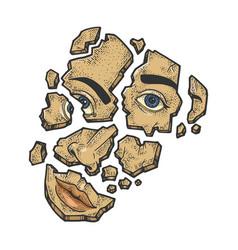 Shattered face sketch engraving vector