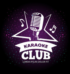 Shiny karaoke club label design vector