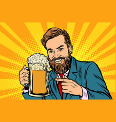 smiling man with a mug of beer foam vector image