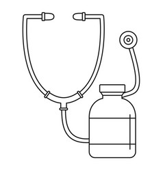 stethoscope medical bottle icon outline style vector image