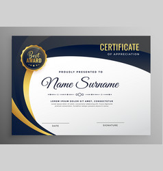Stylish certificate template in luxury style vector