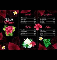 Tea menu or leaflet card with hawaiian hibiscus vector