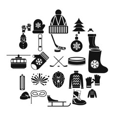 Things from canada icons set simple style vector