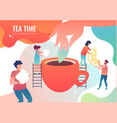 tiny men make tea vector image