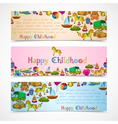 Toys banners horizontal set vector image