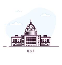 Usa line city symbol vector