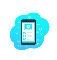 video stream player on smartphone icon vector image