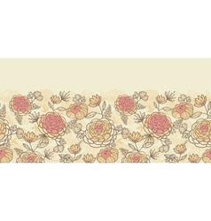 Vintage brown pink flowers horizontal seamless vector