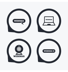 Webinar icons Web camera and notebook pc signs vector image