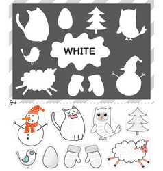 White color cut elements and match them vector