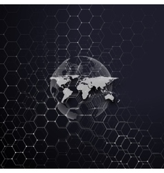 White dotted world globe connecting lines and vector image
