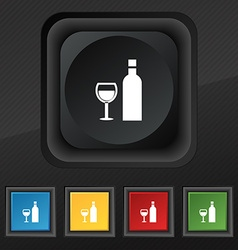 Wine Icon symbol Set of five colorful stylish vector image