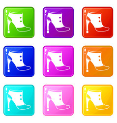 Women boots icons 9 set vector