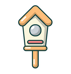 wooden birdhouse icon cartoon style vector image
