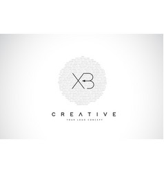 xb x b logo design with black and white creative vector image