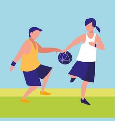 young couple playing basketball vector image