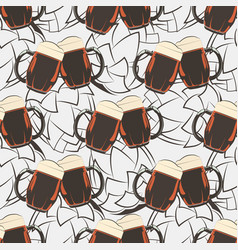 beer seamless pattern with beer mugs and hops vector image vector image