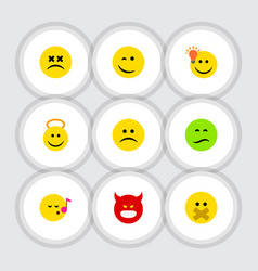Flat icon face set of angel descant sad and vector