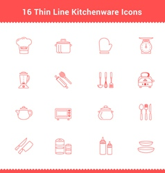 Set of Thin Line Stroke Kitchenware Icon vector image vector image