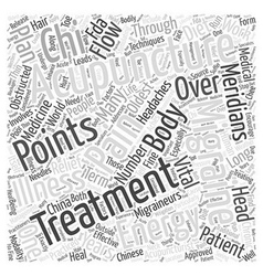 Acupuncture for Migraines Word Cloud Concept vector image vector image