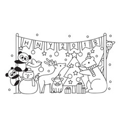 cut animals in christmas party vector image vector image