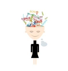 Girl thinks about shopping abstract concept vector image