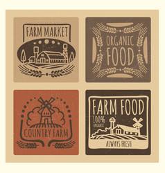 grunge organic food farm market vintage labels vector image vector image