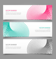 halftone banner design in three different colors vector image vector image