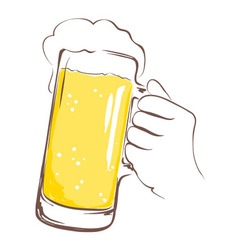 Lager beer mug in hand vector