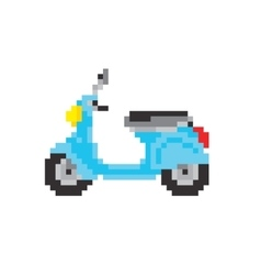 Scooter motorbike in pixel art style isolated vector image vector image