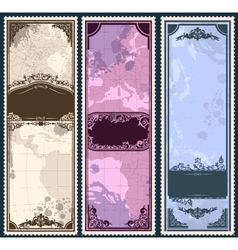 Set of three vintage bookmarks with map parts vector image vector image
