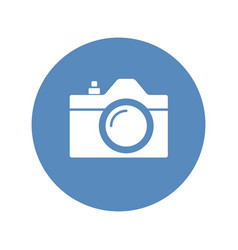 camera icon sign placed in blue circle vector image