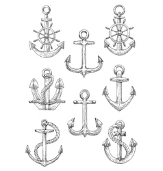 Engraving sketched anchors with helms and ropes vector image