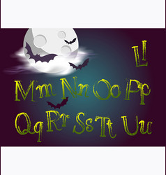 halloween jumping letters evil type in gothic vector image