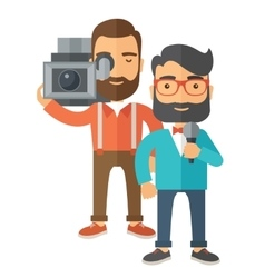 Jourmalist and news reporter vector image